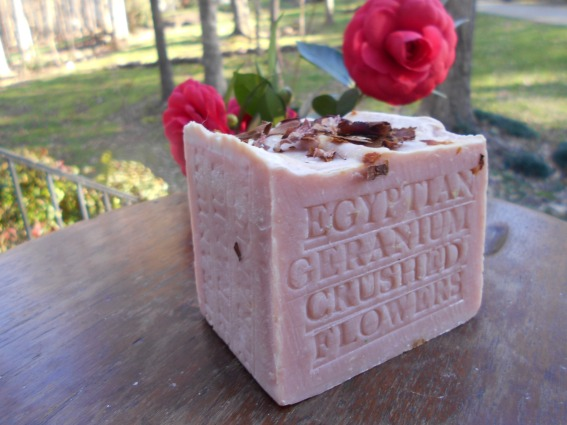 Natural Handcrafted Soap Egyptian Geranium with French Rose Clay- Cocoa Butter and Crushed Flowers Soap 7 + oz