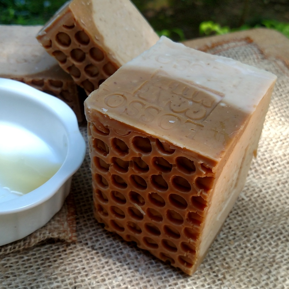 Handmade soap with goat milk and organic base oils.